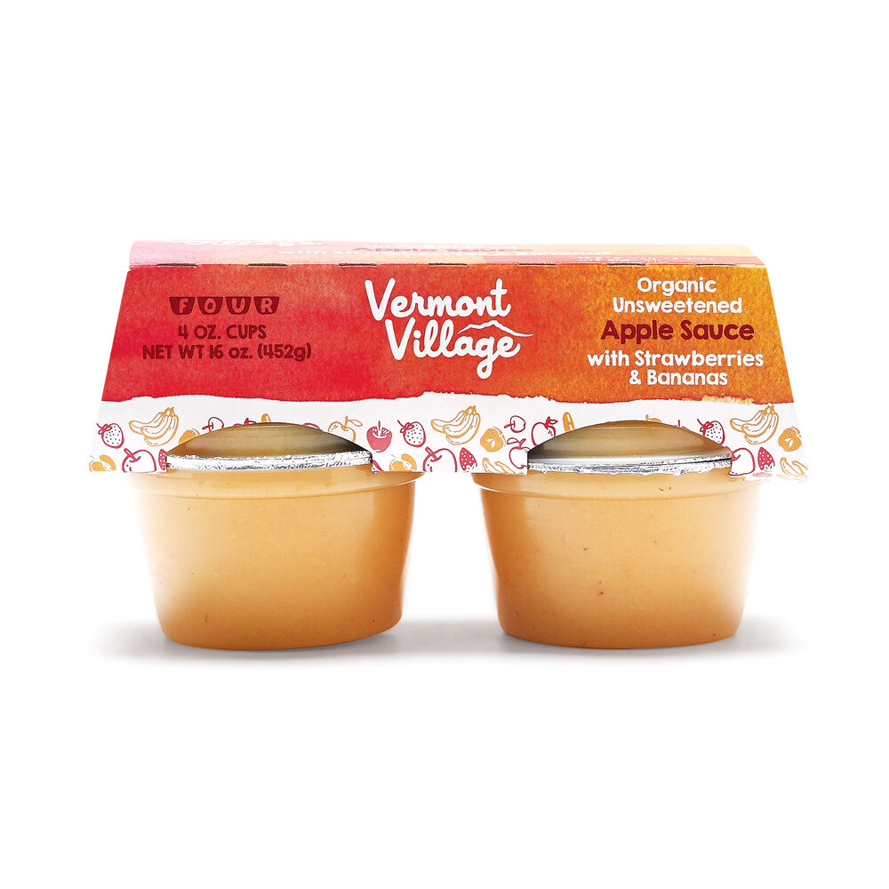 Strawberry Banana Apple Sauce (Org.) - 4 oz. Cups image number 0