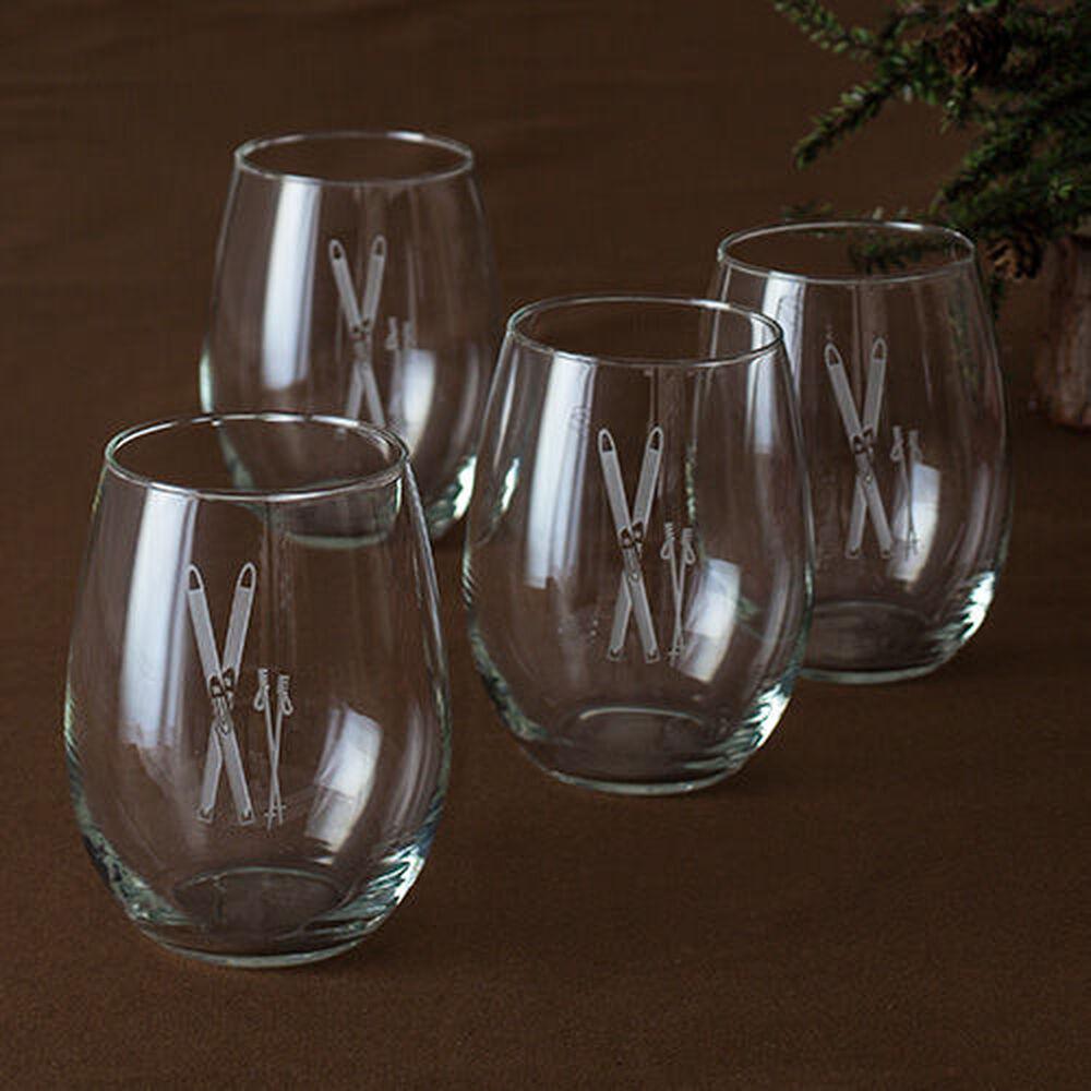 Vintage Skis Stemless Wine Glasses (Set of 4) image number 0