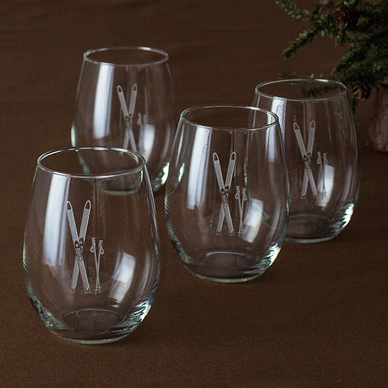 Vintage Skis Stemless Wine Glasses (Set of 4)