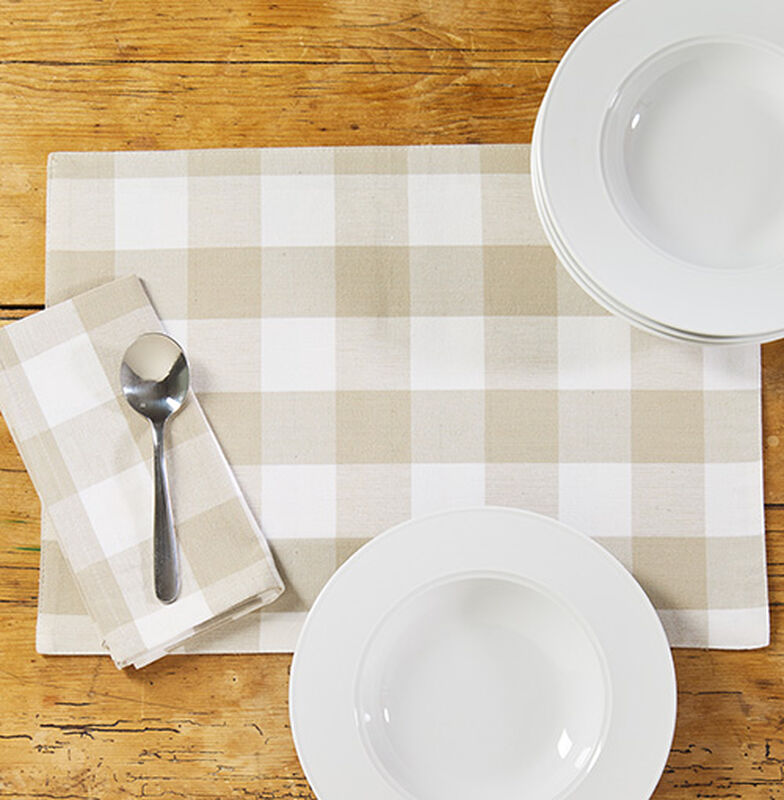 Sandstone Checked Placemats & Napkins