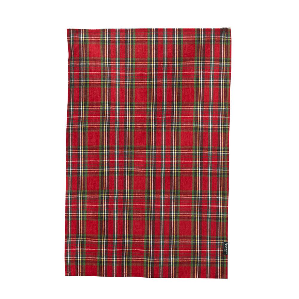 Holiday Red Plaid Tea Towel image number 0
