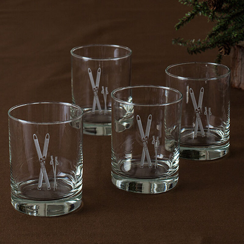 Vintage Skis Double Old Fashioned Glass (Set of 4)