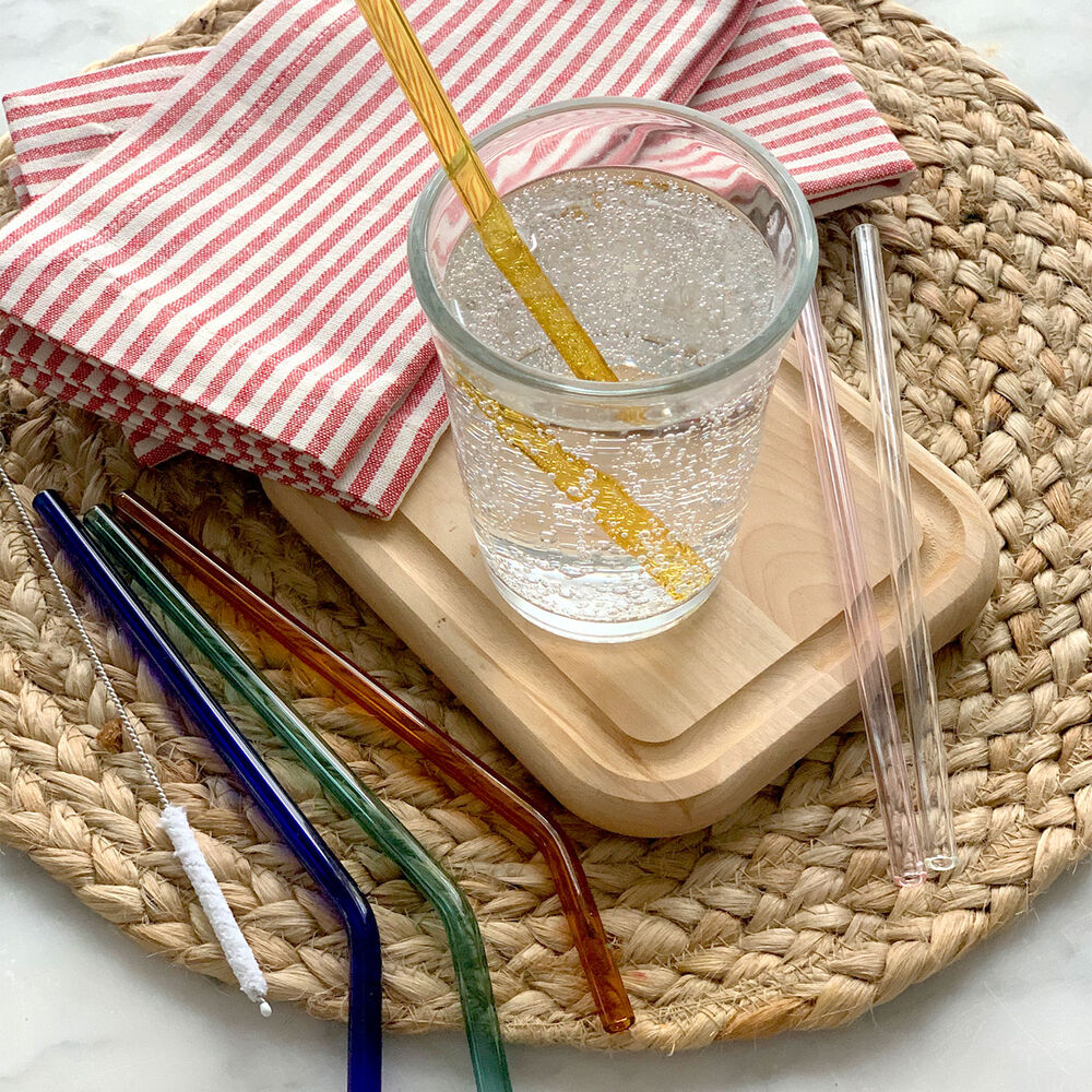 Colored Reusable Glass Straws (Set of 6) image number 0