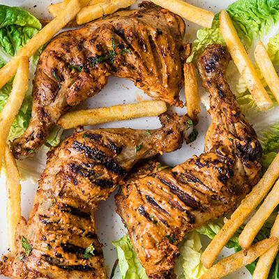 Homemade Peri Peri Chicken Tenders with sauce