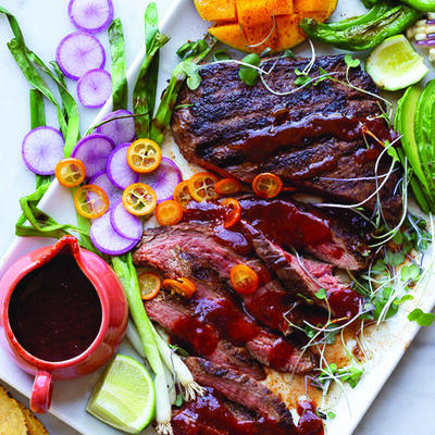 Poblano Grill Steak Platter with Homemade Barbecue Sauce
