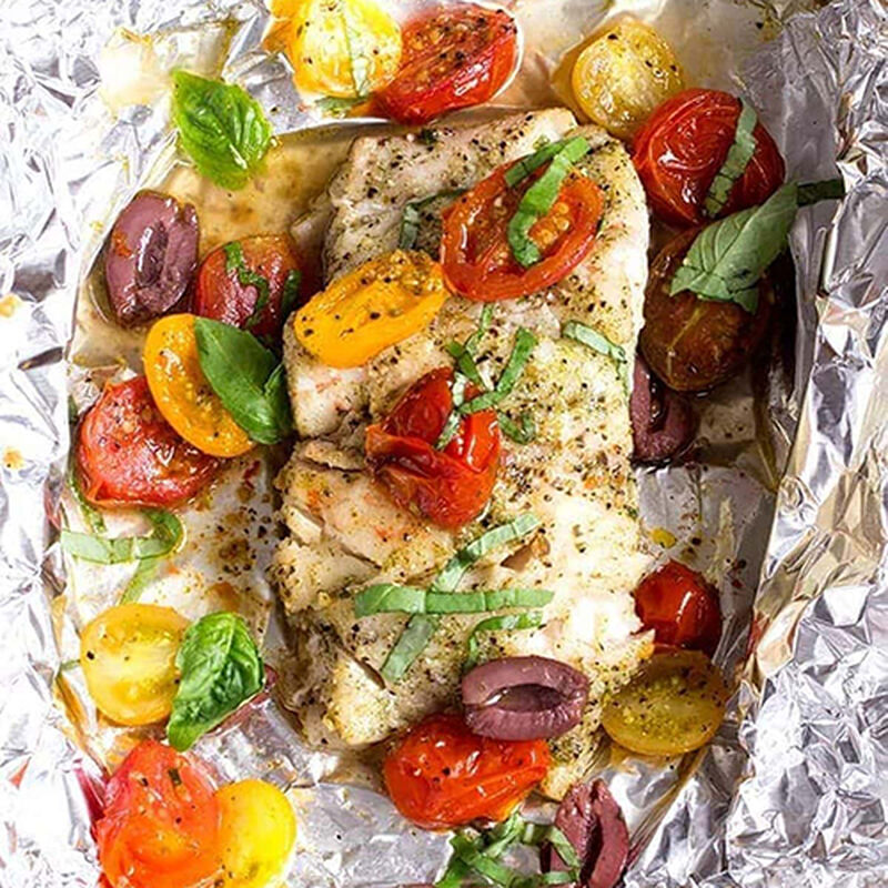 Grouper with Tomato and Basil in a Foil Packet