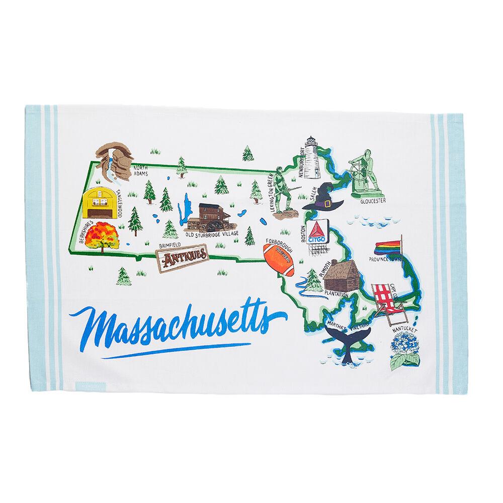 Massachusetts Map Tea Towel image number 0