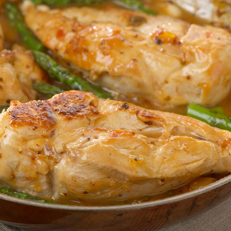 Mango Mustard Glazed Chicken with Grilled Asparagus Tips