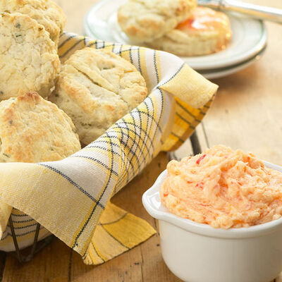 Cheddar Herb Biscuits and Red Pepper Jelly Butter