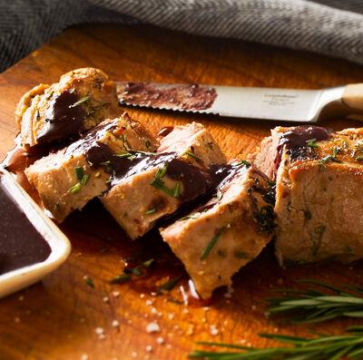 Marinated Grilled Pork Tenderloin with Burgundy Mustard Sauce