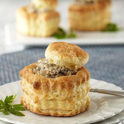 Tipsy Mushrooms in Puff Pastry Shells