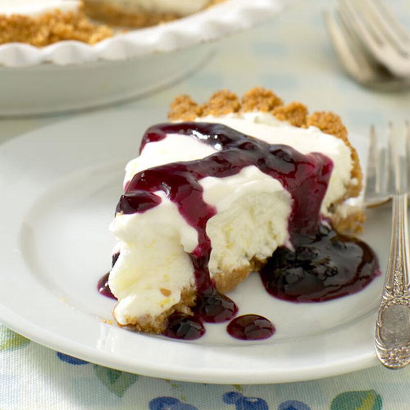 Lemon Cloud Pie with Blueberry Sauce
