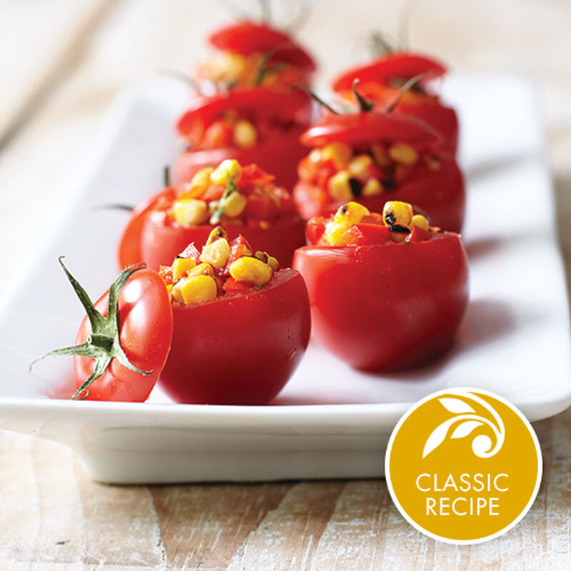 Spicy Corn Relish Stuffed Tomatoes