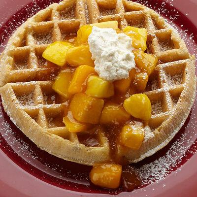 Pecan Waffles with Peach Amaretto Jam