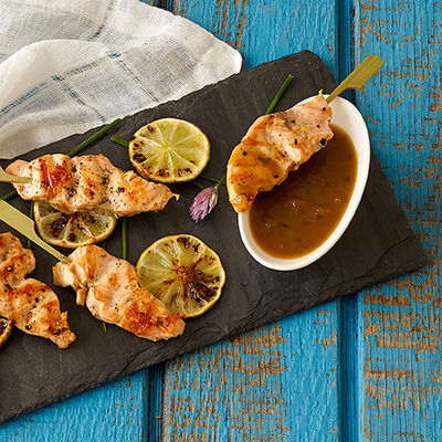 Salmon Satay with Wasabi Ginger Dipping Sauce