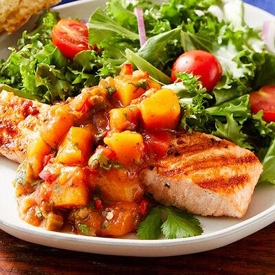 Salmon with Chili Mango Salsa