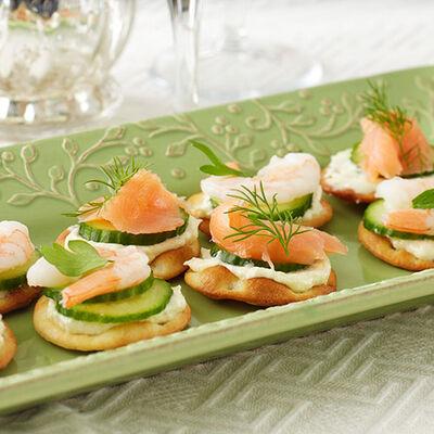 Salmon & Shrimp Pita Appetizers