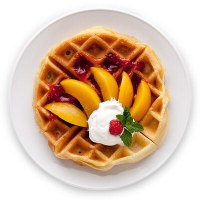 Peach Melba Waffle