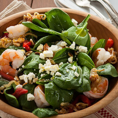 Warm Baby Spinach Salad with Toasted Pine Nuts and Shrimp