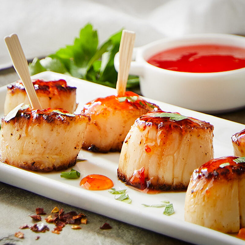 Pan Seared Scallops with Red Pepper Jelly