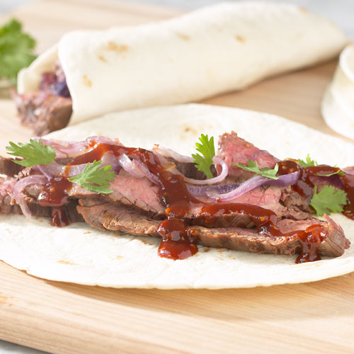 Barbecued Steak Wrap Ups With Maple Chipotle Grille Sauce
